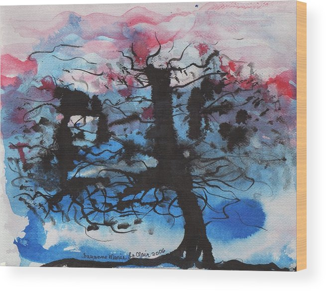 Tree Wood Print featuring the painting Black Tree by Suzanne Marie Leclair