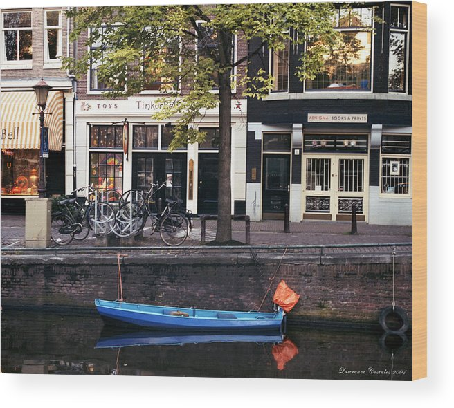 Amsterdam Wood Print featuring the photograph Blu Boat by Lawrence Costales