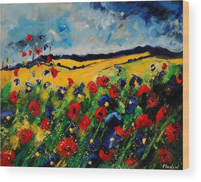 Poppies Wood Print featuring the painting Blue And Red Poppies 45 by Pol Ledent