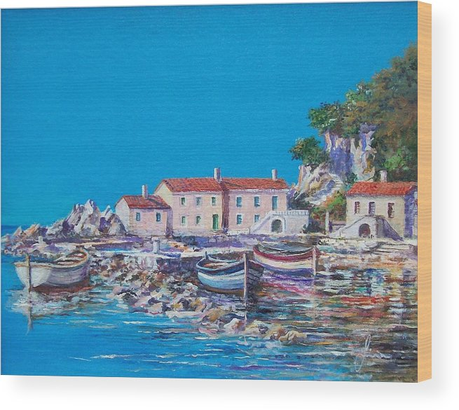 Original Painting Wood Print featuring the painting Blue Bay by Sinisa Saratlic