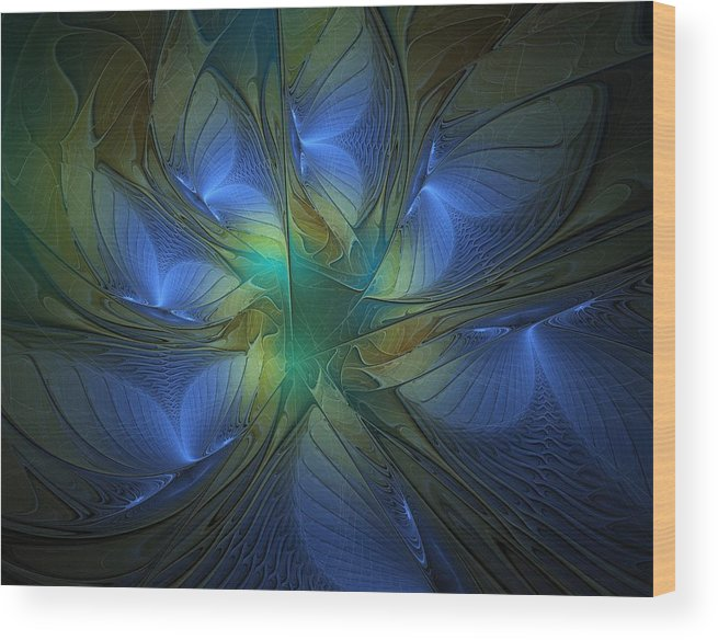 Digital Art Wood Print featuring the digital art Blue Butterflies by Amanda Moore