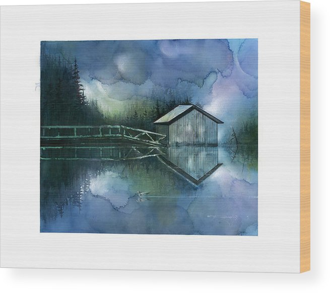 Seescape Wood Print featuring the painting Blue Rapsody by Dumitru Barliga