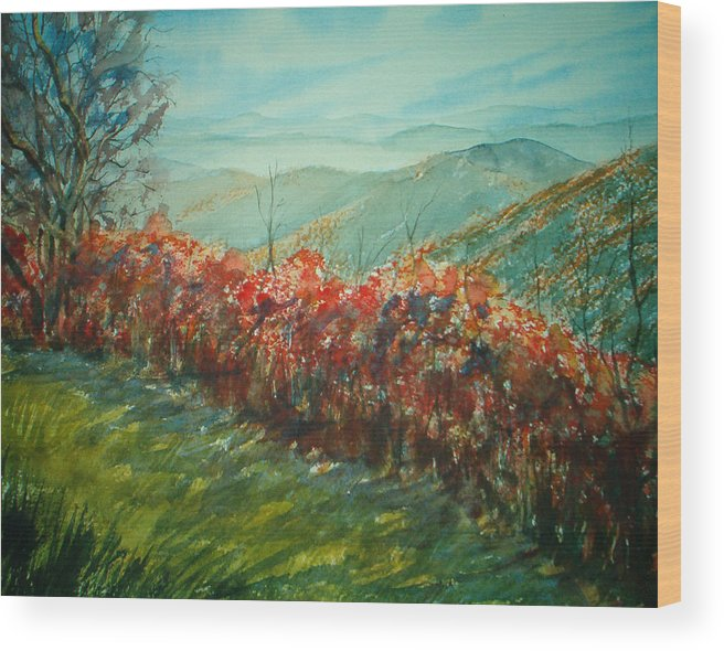 Landscape Wood Print featuring the painting Blue Ridge Parkway by Shirley Braithwaite Hunt