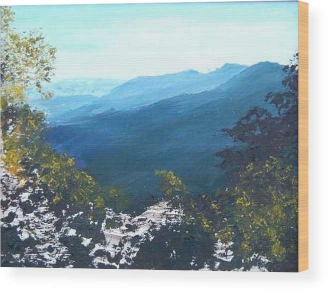 Landscape Wood Print featuring the painting Blue Ridge by Tami Booher