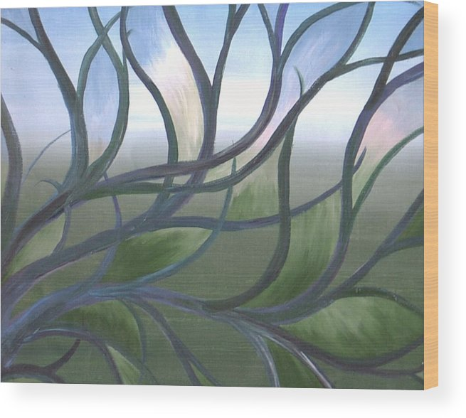 Tree Branches Abstract Landscape Wood Print featuring the painting Blue Skies by Sally Van Driest