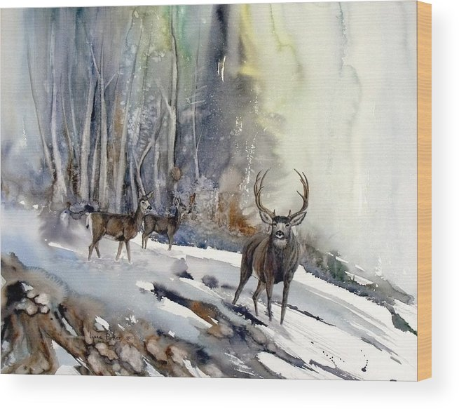 Mule Deer Wood Print featuring the painting Boone And Crockett by Lynne Parker