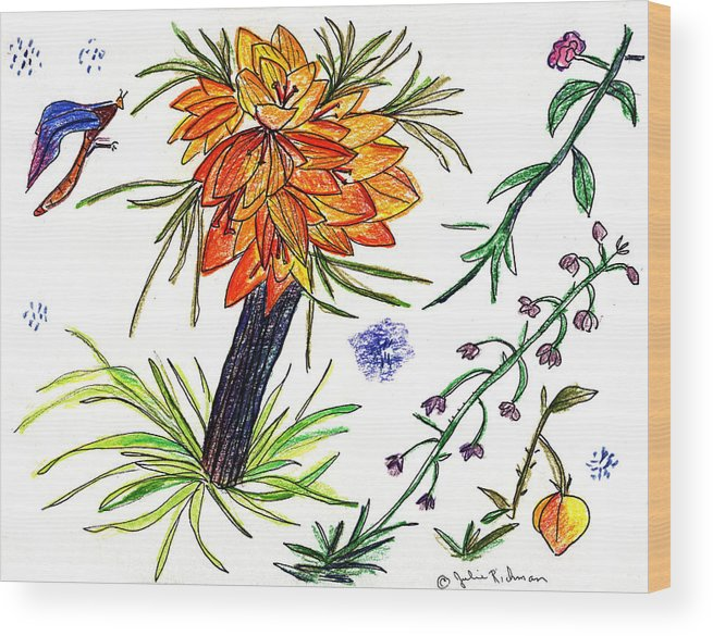 Drawing Nature Botany Flowers Abstract Art Wood Print featuring the painting Botanical Flower With Insect. by Julie Richman
