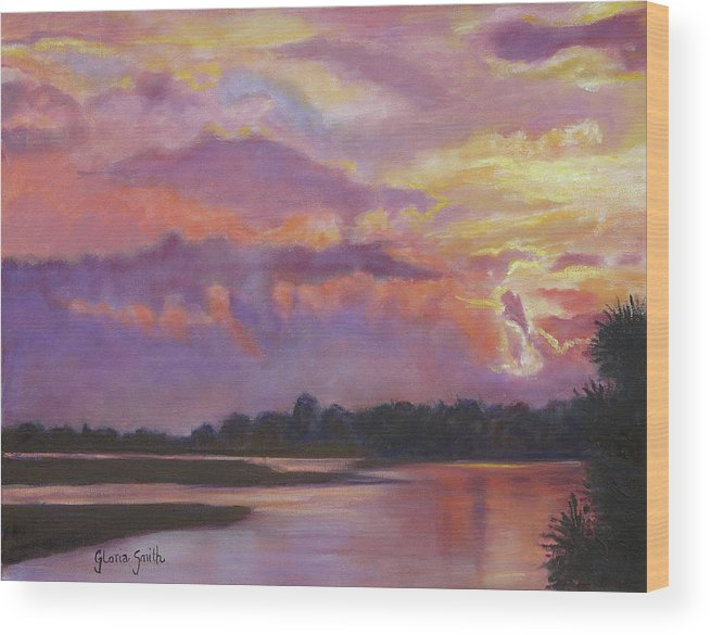 Sunset Wood Print featuring the painting Bowen's Island by Gloria Smith
