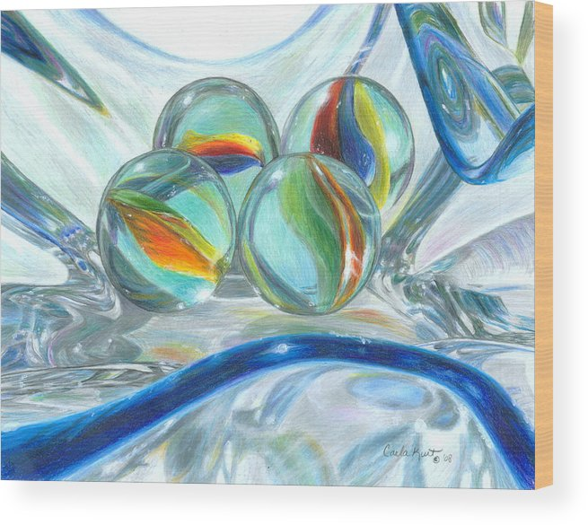 Glass Wood Print featuring the drawing Bowl Of Marbles by Carla Kurt