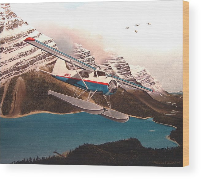 Aviation Wood Print featuring the painting Bringing Home The Groceries by Marc Stewart