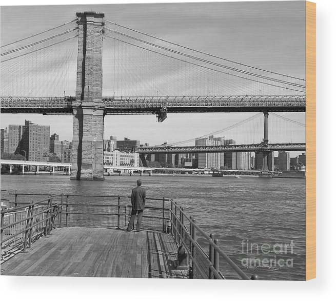 Brooklyn Bridge Wood Print featuring the photograph Brooklyn Bridge Bw by Andrew Kazmierski
