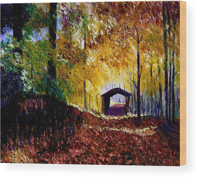 Ridge Wood Print featuring the painting Brown County Covered Bridge by Stan Hamilton