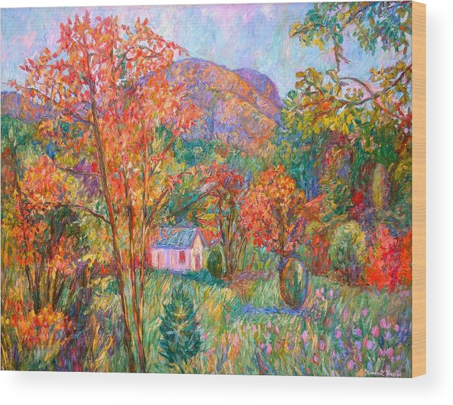 Landscape Wood Print featuring the painting Buffalo Mountain In Fall by Kendall Kessler