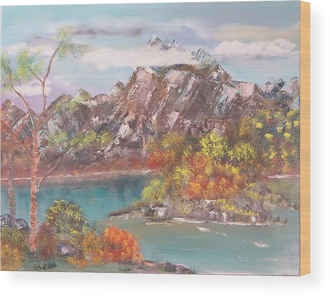 Landscape Wood Print featuring the painting Burning Bush by Mikki Alhart