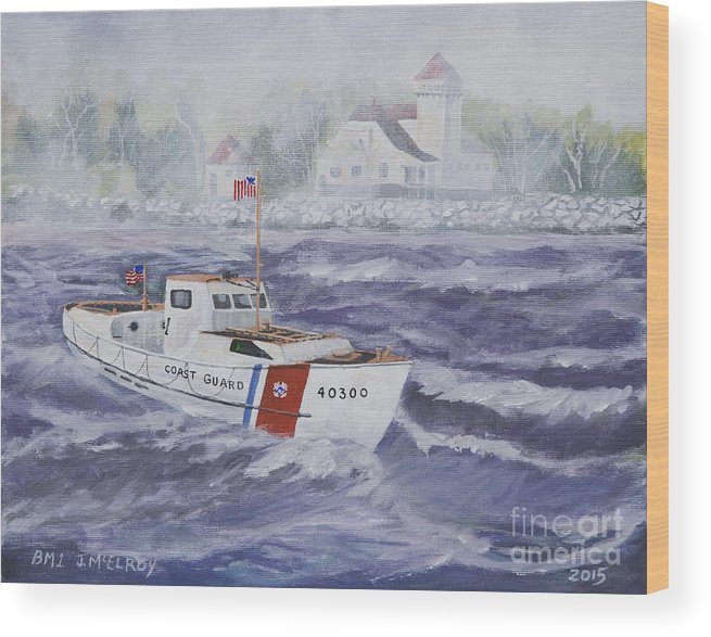 Coast Guard Wood Print featuring the painting C G 40300 At Coast Guard Station Plum Island by Jerry McElroy