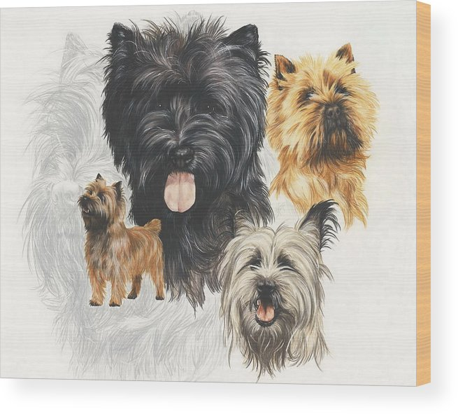 Terrier Wood Print featuring the mixed media Cairn Terrier Revamp by Barbara Keith