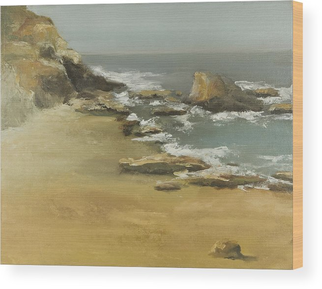 Seascape Wood Print featuring the painting California Coast by Joni Herman