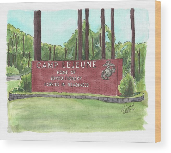 Marine Corps Wood Print featuring the painting Camp Lejeune Welcome by Betsy Hackett