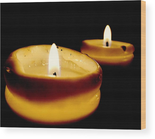 Candles Wood Print featuring the photograph Candles In The Dark by Leah Stark