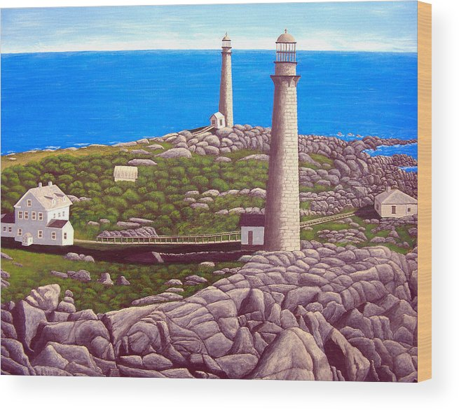 Art Wood Print featuring the painting Cape Ann Twin Towers by Frederic Kohli