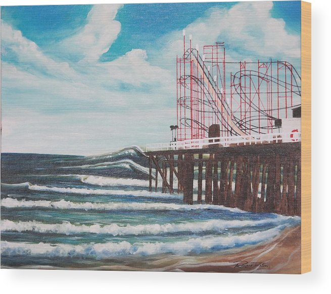 Surf Wood Print featuring the painting Casino Pier N.j. by Ronnie Jackson