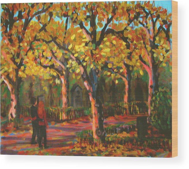 Walk Wood Print featuring the painting Cemetary In Autumn by Art Nomad Sandra Hansen
