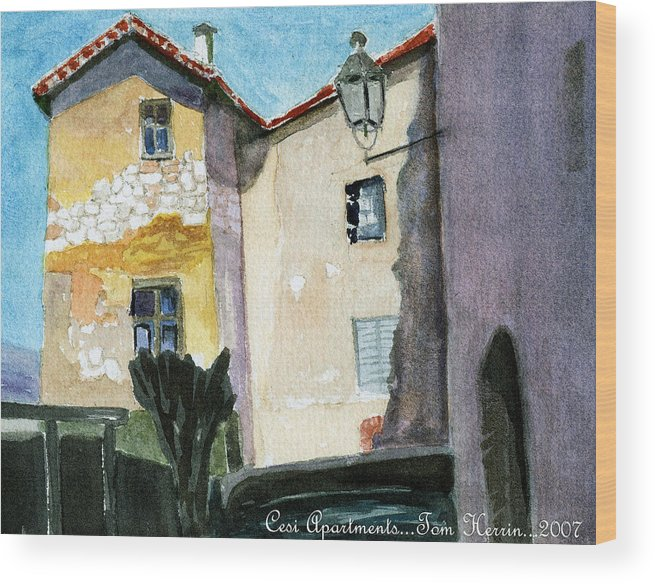 Italy Wood Print featuring the painting Cesi Apartments Italy by Tom Herrin