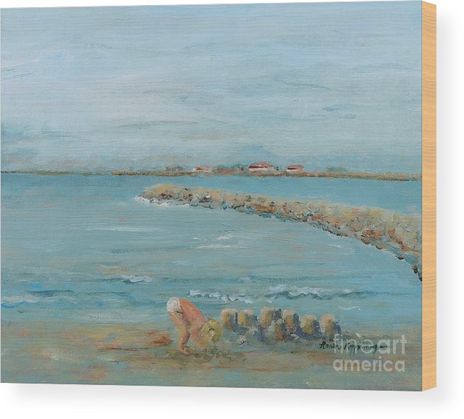 Beach Wood Print featuring the painting Child Playing At Provence Beach by Nadine Rippelmeyer