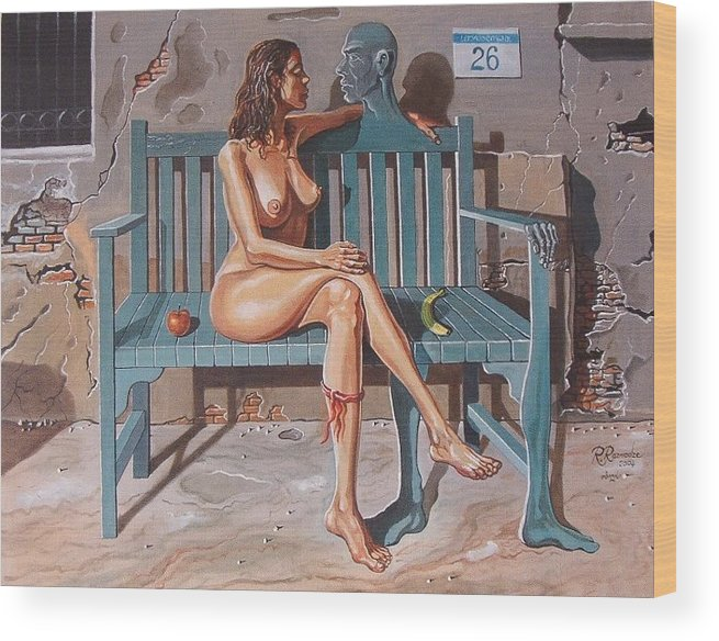 Surreal Wood Print featuring the painting Clandestine Libido by Ramaz Razmadze