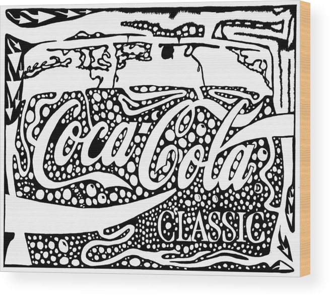 Coca Wood Print featuring the drawing Coca-cola Maze Advertisement by Yonatan Frimer Maze Artist