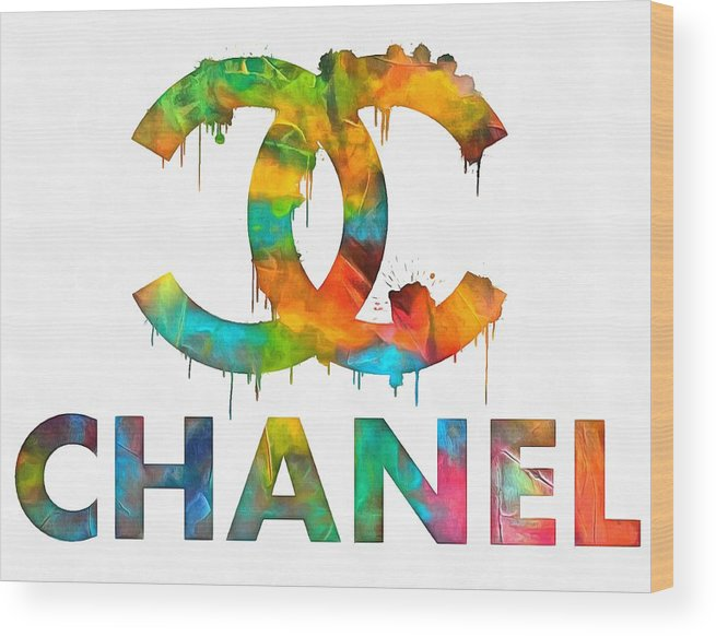 Coco Chanel Paint Splatter Color Wood Print featuring the painting Coco Chanel Paint Splatter Color by Dan Sproul