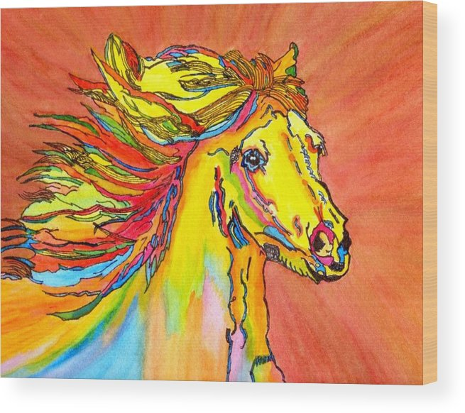 Colorful Horse Wood Print featuring the painting Colorful Horse by Connie Valasco