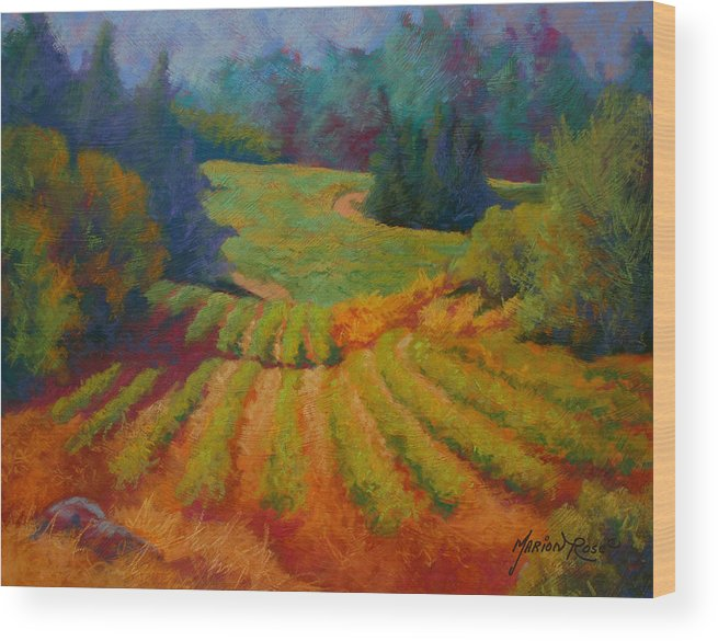 Pastel Wood Print featuring the painting Columbia Valley Vineyard by Marion Rose