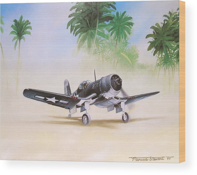 Aviation Wood Print featuring the painting Corsair Preflight by Marc Stewart