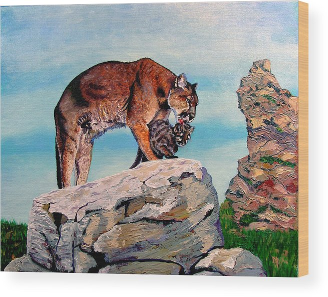 Original Oil On Canvas Wood Print featuring the painting Cougars by Stan Hamilton