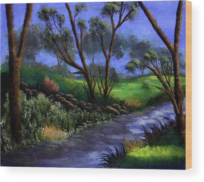 Country Club Wood Print featuring the painting Country Club View by Dawn Blair