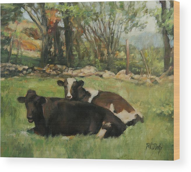 Cow Wood Print featuring the painting Cow Buddies by Robert Tutsky