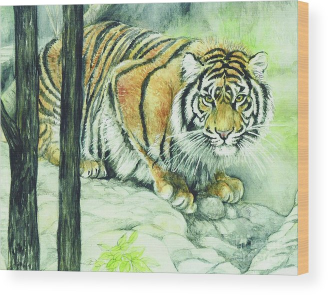 Crouching Wood Print featuring the painting Crouching Tiger by Morgan Fitzsimons