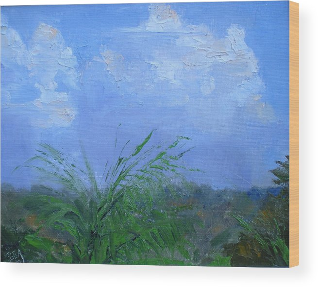 Cloud View Wood Print featuring the painting Cumulus Clouds by Bryan Alexander