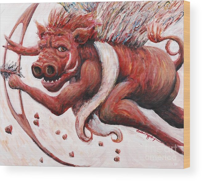Pig Wood Print featuring the painting Cupig by Nadine Rippelmeyer