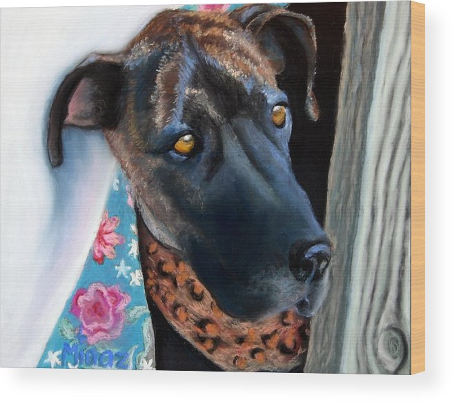 Great Dane Wood Print featuring the painting Whats Going On? by Minaz Jantz