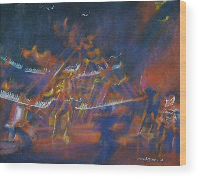 Music And Dance Wood Print featuring the painting Dancin by Howard Stroman