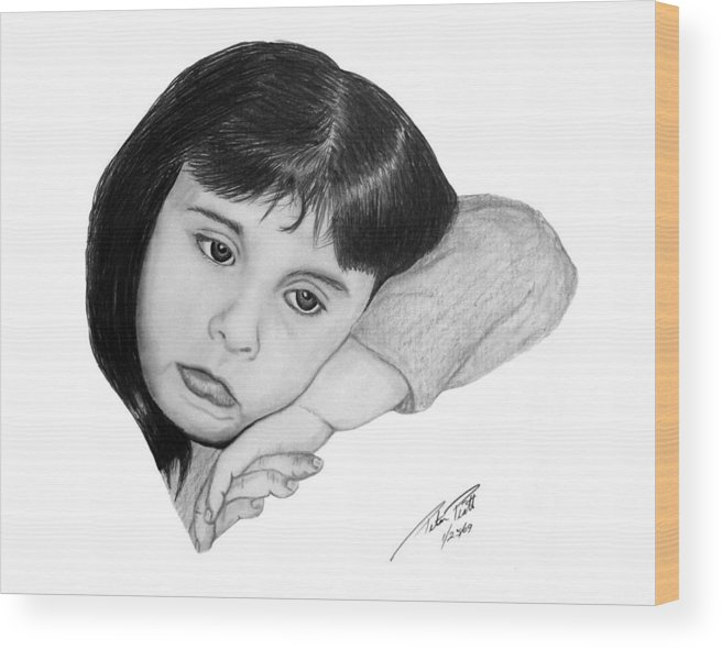 Portrait Sketch Wood Print featuring the drawing Dannie by Peter Piatt