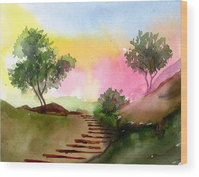Landscape Wood Print featuring the painting Dawn by Anil Nene