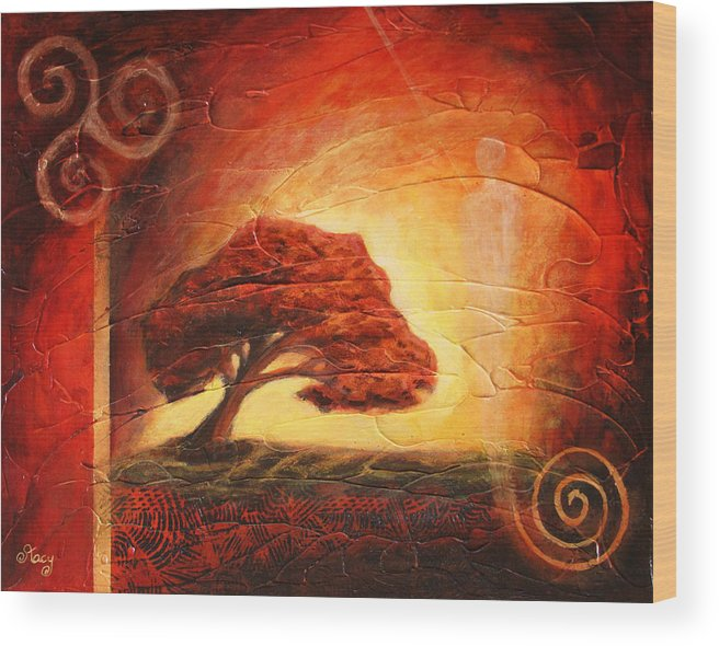 Tree Wood Print featuring the painting Dawning Light by Pat Stacy