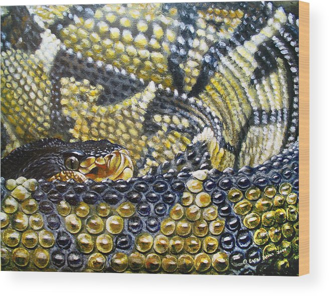 Snake Wood Print featuring the painting Deadly Details by Cara Bevan