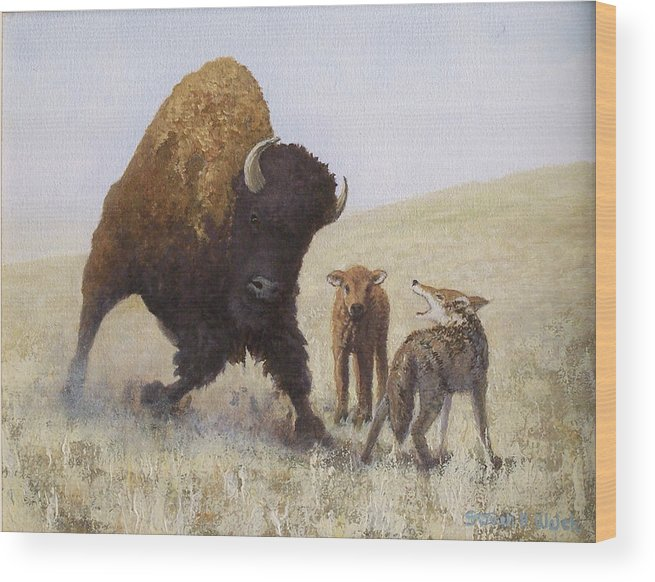 Bison Wood Print featuring the painting Defending A Young One by Steven Welch