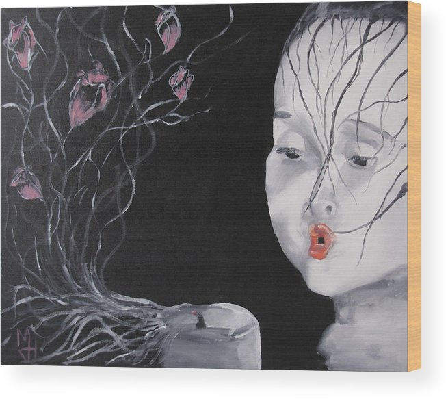 Girl Wood Print featuring the painting Delicate by Michael Holmes