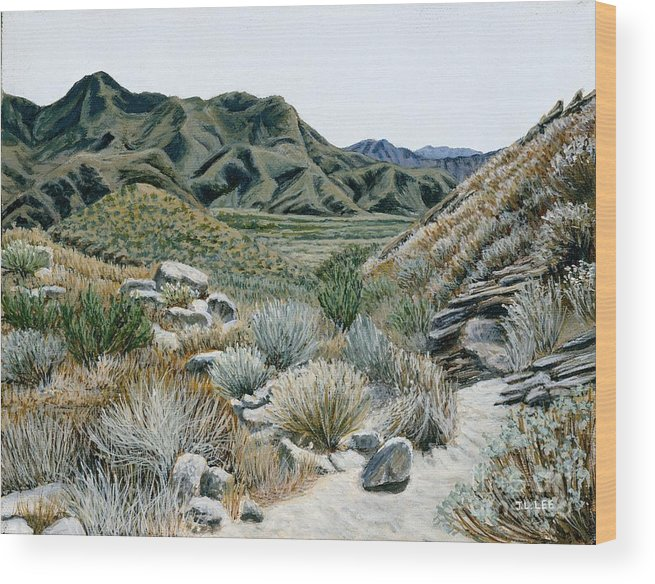 Landscape Painting Wood Print featuring the painting Desert Trail by Jiji Lee