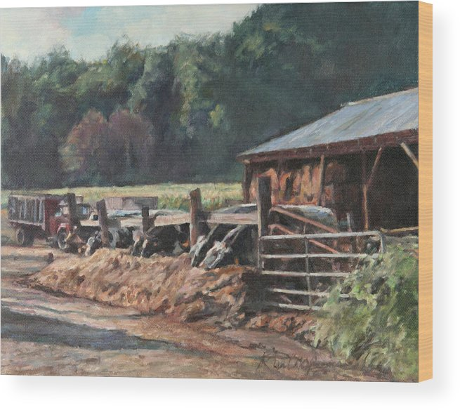Farm Wood Print featuring the painting Dinner Time by Robert Tutsky